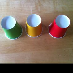 Use the cups during group time/center time... Stack them: (each group gets a set) Green, yellow, red. If a group gets too loud, remove the green and place under stack. If it continues, remove the yellow. Once they are on red, that particular group time is over and they begin working silently using paper and pencil Independently. ( idea from Organized Classroom Blog)