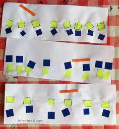 geste graphique : alignement de papiers découpés et gommettes