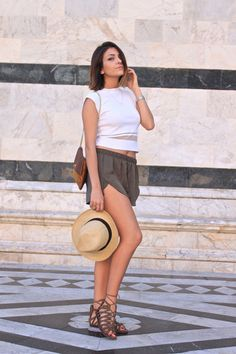 Your Outfit Today » Leather Shorts & Gladiator Sandals