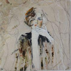 80 x 80 Aus der Serie la femme Filz /Öl Doris Breuer