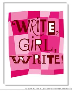 Write Girl Write Typographic Print  - Gift for Writers, Bloggers, Freelancers, Authors - Nanowrimo, Morning Pages, Writing via Etsy