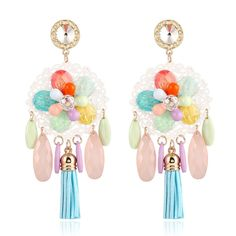 [$2.56] European And American Big Earrings Gemstone Earrings (Colour: Color)
