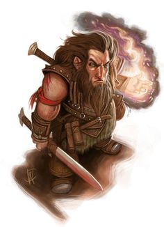 """Byrghur """"Firehand"""" Tamhaur from Thagrath-thur have developed successful fighting with a combination of swords and several fire spells."""
