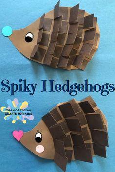 Spiky paper hedgehogs, fun autumn craft for kids.