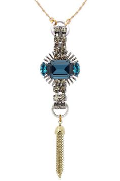 A relic from an imagined realm, this pendant also hints at Art Deco decadence. Bound by a delicate strand of brass, this mesmerizing cerulean-Swarovski-crystal and Strass necklace will add a futuristic edge to even the most feminine ensemble.