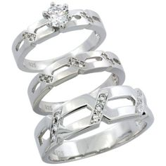 Sterling Silver 3-Piece His 6.5 mm & Hers 4 mm Trio Wedding Ring Set CZ Stones Rhodium Finish, Ladies Size 8 Sabrina Silver. $92.00. Save 54%!