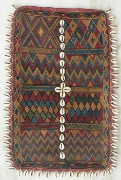 Old/antique banjara indian textile known as a galla that is used to cover the nape of a Banjara woman's neck.