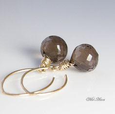 Smoky Quartz Goldfill Earrings Gemstone Jewelry Golden Brown Dangle Earrings. Choice of Earwire on Etsy, $42.00