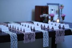 Lace Escort Card Runners