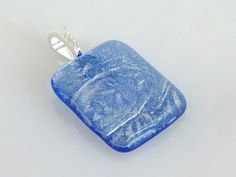 Sky Blue and Silver Fused Glass Pendant by bprdesigns on Etsy, $18.00