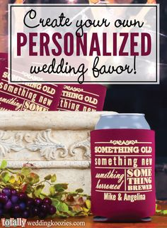 Create your own personalized wedding favor with us!  We offer over 800 customizable artwork templates & 45 koozie product color options!  Your options are endless!  Every wedding koozie order also comes with a FREE complimentary bride & groom koozie!  Use coupon code PINNER10 and receive 10% off your wedding koozie order! Sale applies to piece price only, not valid with other coupon codes and expires September 30, 2016. #koozies