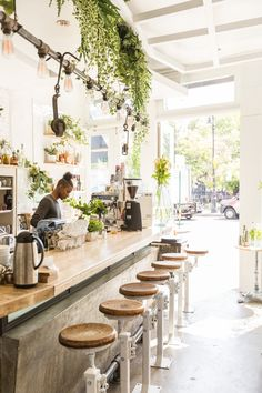 The Butcher's Daughter in NYC is the perfect summer hang! Coffee Shop Interior Design, Italian Interior Design, Coffee Shop Design, Restaurant Interior Design, Cafe Design, Interior Design Kitchen, Design Design, Modern Restaurant, Cafe Restaurant