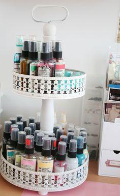 Studio Tour with Anna Sigga // organize spray/mist inks in a tiered holder #dothis