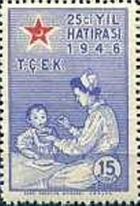 Turkiye stamp 1946, Feeding child (Children's Aid Association, 25 Years)