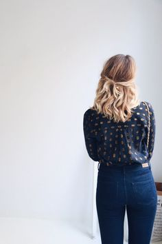 Gold and navy blouse by Leon & Harper