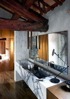 Take a look inside Paolo Tormena and Isabella Genovese of design brand Henge's timber loft home located in a converted Century granary in Northern Italy Bathroom Interior Design, Decor Interior Design, Interior Decorating, Bathroom Designs, Bathroom Ideas, Bathroom Inspiration, Interior Inspiration, Home Deco, Best Bathroom Faucets