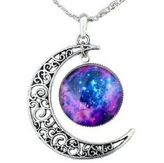 Amazon.com: FANSING Galaxy Necklace Hollow Out Crescent Star Galactic Cosmic Moon Charm Necklaces: Jewelry Bargain @ $5.59