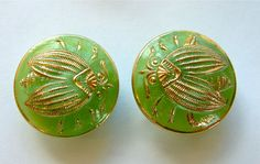 2 x 19mm Vintage Green Moonglow Glass Buttons With Gilt Bees