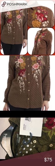 """Button Up Embroidered Cotton Eyelet Blouse •NO sIZE TAg Bust the 42"""" Length 26"""" Cotton Voile Eyelet •Button up style •Button cuffs •Scooped hemline •Custom Embroidery •Care instructions: Dry clean suggested Johnny Was Tops Button Down Shirts"""