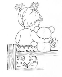 Embroidery pattern, girl and teddy bear