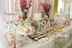Shabby chic vintage romantic birthday party! See more party ideas at CatchMyParty.com!