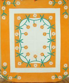 """Vintage 40's """"Daisy Chain"""" Applique Antique Quilt ~UNUSUAL MOUNTAIN MIST DESIGN!"""