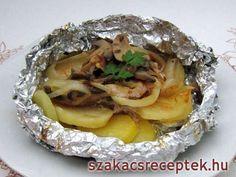 Illatos hús krumplival és sampinyonnal. Egyszerű az elkészítése és a tálalása.