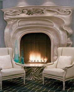 LOVE this art nouveau fireplace. Hotel in San Francisco.