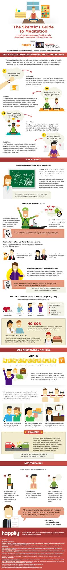 "Are You Skeptical About Meditation? Here's Everything You Need To Know! - 5 minutes is all it takes. Meditation reduces stress, makes us more compassionate and boosts self-acceptance... "" - Created by Happify and Dan Harris, author of 10% Happier"