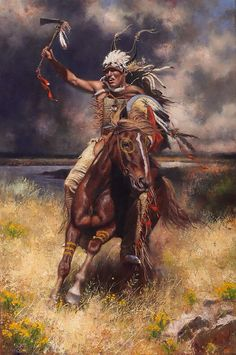 Just a badass Native Indian Warrior on his steed in the fields of his homeland claiming what is his - Love the thunderstruck sky and power in this Native American Warrior, Native American Wisdom, Native American Beauty, American Indian Art, Native American History, American Indians, Native American Hunting, Apache Native American, American Symbols