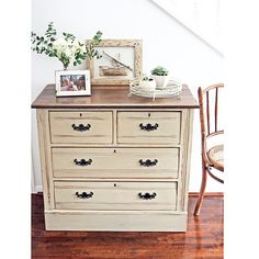 SOLD -- Rustic chest of drawers in #ascp Country Grey {$350} and I finally used my vinegar and steel wool stain on the top and very pleased with the result. Local pickup only for this beauty #brisbane #qld #vintage #antique #drawers #anniesloanchalkpaint #recycled #restoredfurniture #paintedfurniture #furniturerestoration #womenwhodiy #queenslandcreatives #vintagefurniture