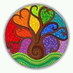 rainbow tree mandala Tree of Life art mandala art spiritual gifts Tree of Light spiritual art gifts under 40 meditation tree mandala pagan Mandala Art, Mandala Rocks, Mandala Painting, Dot Art Painting, Rock Painting Designs, Paint Designs, Stone Painting, Tree Of Life Art, Tree Art