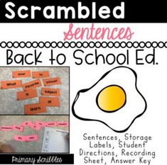 Scrambled Sentences Back to School Edition are perfect to teach decoding, fluency, sight word recognition, using proper punctuation such as capitals and ending punctuation, and writing in complete sentences. Reading Skills, Guided Reading, Teaching Reading, Kindergarten Writing, Back To School Activities, Kids Learning Activities, Motivational Activities, Math Challenge, Math Assessment