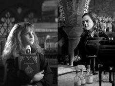 Looking into the future. Emma Watson in Harry Potter and the Sorcerer's Stone (2001) and again in 2009, for Harry Potter and the Half-Blood Prince.