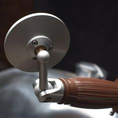 Oberon Adjustable Bar End Mirror polished rear view mounted in handlebar