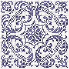 Stor samling av diagrammer og grafer til Cross Stitch gratis: Mange cross-stitch mønstre BLUE