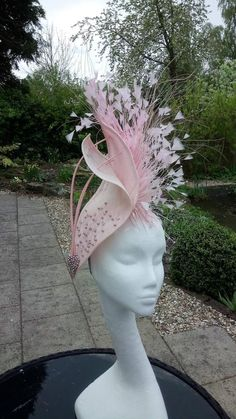 Nadire Atas on Women's Fascinators stunning Hatinator in pink sinamay. Wedding hat for Mother of the Bride, Fascinator for Race Meetings, Royal Ascot by JayneAlisonMillinery on Etsy Sinamay Hats, Millinery Hats, Fascinator Hats, Fascinators, Headpieces, Black Fascinator, Ascot Hats, Crazy Hats, Cocktail Hat