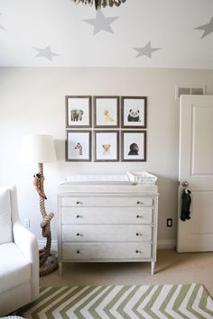 white and grey gender neutral safari nursery with green chevron, beaded chandelier and faux animal head wall art and teepee Safari Theme Nursery, Baby Boy Nursery Themes, Baby Nursery Neutral, Baby Boy Nurseries, Nursery Ideas, Project Nursery, Pastel Nursery, Nursery Boy, Themed Nursery