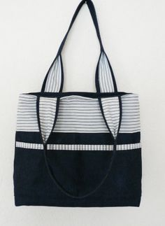 Blue and white denim tote with pockets - Folksy | Craft Juice