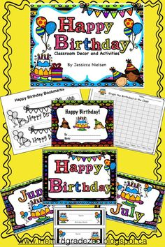 $This happy birthday bundle contains lots of ideas and resources to help you celebrate birthdays in your classroom. I have included a birthday classroom decor set that includes an happy birthday poster, a poster for each month of the year, and name cards so you can place each student's name on or under their birthday month poster. I have also included birthday certificates and birthday cards and bookmarks that students can colour.