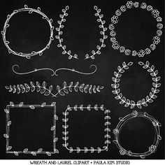 SALE - 60% OFF - Chalkboard Clip Art Vine Wreath Clipart Instant Digital Download Laurel Image Graphics for Wedding Invitations on Etsy, $1.60