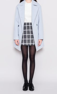Korean fashion - white blouse, grid pencil skirt, blue trench coat and leggings