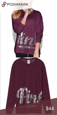 XS PINK Campus Tee - Oversized NWT, Super Blingy, ruby/maroon color, opened online packaging PINK Victoria's Secret Tops Tees - Long Sleeve