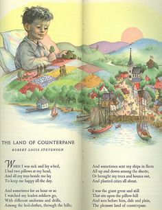 I read this to my boys all the time.Land of Counterpane - Garth Williams from The Tall Book of Make Believe.one of my favorite memories. Childhood Poem, 1970s Childhood, Nursery Rhymes Poems, Garth Williams, Pomes, Kids Poems, Children's Book Illustration, Book Illustrations, Vintage Children's Books