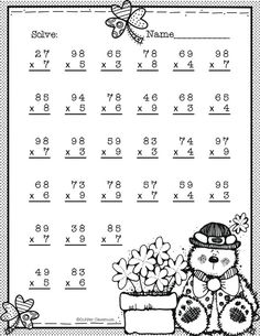 Double Digit Multiplication With Regrouping,. by Copper Classroom 4th Grade Multiplication Worksheets, School Worksheets, Multiplication Problems, Multiplication Strategies, Math Math, Math Fractions, Math Games, Kindergarten Lessons, Math Lessons