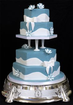 wedding cake simple...maybe add a thin strip of rhinestone between the colors