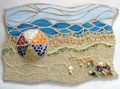 Mosaic Beach Ocean Scene Mixed Media OOAK art by Mel Fischer I chose to take a very liberal approach to a Sailors Valentine. I pictured what