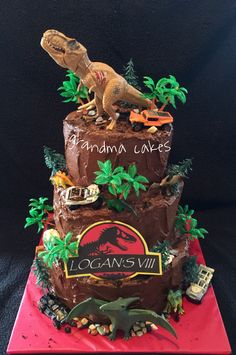 New Birthday Party Boy Dinosaur Jurassic Park Ideas Jurassic Park Party, Jurassic World Cake, Birthday Party At Park, 6th Birthday Parties, Birthday Ideas, Dinosaur Birthday Cakes, Dinosaur Party, Dinosaur Cakes For Boys, Sonic Birthday Cake