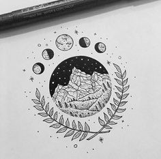 T-shirt Ideas, Unique Mountain and Moon Design. T-shirt Ideas, Unique Mountain and Moon Design. Art Drawings Sketches, Easy Drawings, Tattoo Drawings, Pencil Drawings, Indie Drawings, Unique Drawings, Kunst Tattoos, Body Art Tattoos, Wow Art