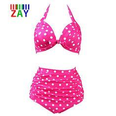 Nylon/Polyester+-+Push-up+-+Halter+-+Bikini+-+Hoge+taille/Stippen+-+Vrouwen+–+EUR+€+4.79